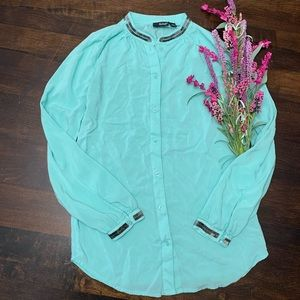 a.n.a Teal Button Up Blouse XS